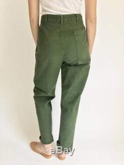 Vintage Sweden Military High Waisted Pants Green Cotton Fatigue Pants Army Olive Green Pants Green Pleat High Rise Pant SIZE OPTION