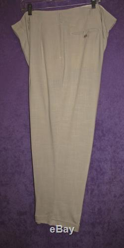 Vintage Trouser Beige Pants Rare Size 39-40 1930s 40s 50s WWII Swing Old Hollywood Summer Hepburn 1920s Classic Pleated Beach Linen Blend