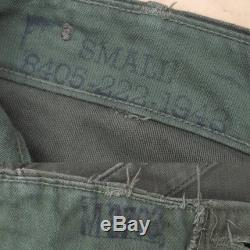 Vintage Utility Trousers Vtg 1950s 60s Type I OG-107 Fatigue High Waist Button Fly Military Pants Size Small 26-28 waist