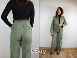 Vintage WWII 1940's army green High Waist Trouser Chore Jacket