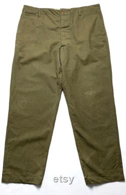 Vintage WWII Impressions M-1937 US Army Serge OD Field Trousers Pants 42 Waist WW2 1930s 30s Button Fly