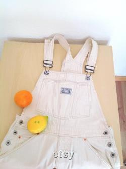Vintage White Levis Overalls 30 W 90s Off White Cropped Length Levis Dungarees Cotton Blend Denim Overalls Painter Bib Overalls