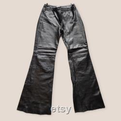 Vintage black goth leather flare trousers y2k