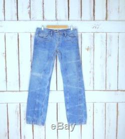 Vintage light blue bleached faded boot cut denim jeans western style stitch seam embroidered jeans 34