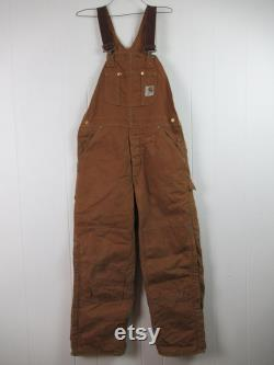 Vintage overalls, Carhartt overalls, brown duck denim, Carhartt, vintage clothing, vintage workwear, size small