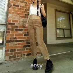 Vintage tan genuine suede leather high waisted pants