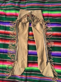 Vintage tan suede fringe chaps leather