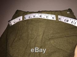 Vintage wool army green pants trousers Oxford Clothing dry clean only waist 24c, extra small