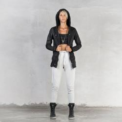 WOMEN'S ADELINE PANTS Black Stretch Linen High Waisted Pant Leather Cinch Strap and Pockets Heathen Clothing