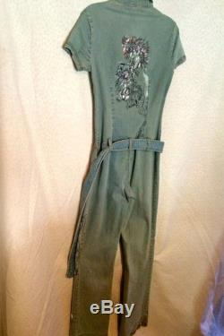 Women's Denim hand painted pantsuit with belt and painted dogs