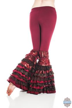 Womens Tribal Fusion Belly Dance Deluxe Ruffle Pant Cabaret Festival Steampunk Recycled Silk Lace Boho Red Brown ALL SIZES and LENGTHS
