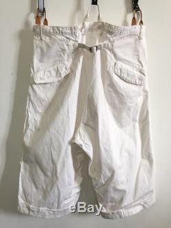 Yohji Yamamoto Cropped Pants with Suspenders Unisex Adjustable Size 32-36 x30 Made in Japan Japanese Designer Comme des Gar on