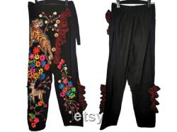 ZazzyMonsters-The Beauty Forest Lay Pants, Street Fashion, Unique Casual wear, Hand paint and Embroidery Cotton Trousers., Handmade for Unisex