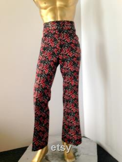 bold psychedelic print men vintage 1970s flare leg pants-red black and white sz med