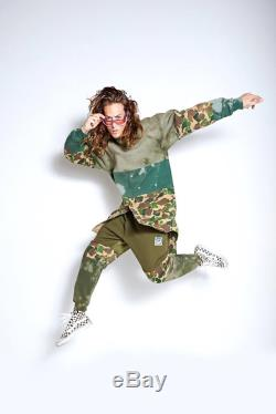 camo forest green joggers butt flap punk block custom upcycle repurpose deconstruct vegan recycle vintage custom unisex baggy cuffs