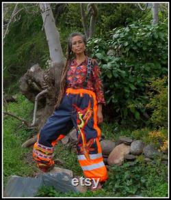 ethnic patchwork overalls for artistic performance