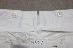 newer vintage -Paul Stuart- Men's flat front trousers. Pure Silk White. Side cinch Tapered leg Fully lined. 32 34 Adjustable waist
