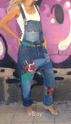 size S M upcycling harem dungarees jeans
