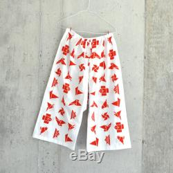 summer resort pants Japanese hand-dyed textile origami red slow fashion, artisan made, the highest quality cotton