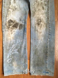 vintage levis 501 worn in distressed stained blue jeans 31 x 30